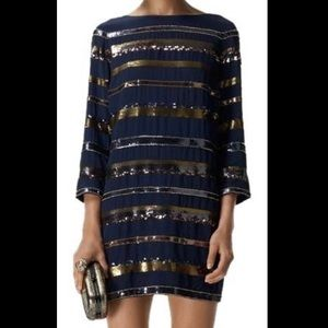 Club Monaco Navy Sequin Stripe Dress